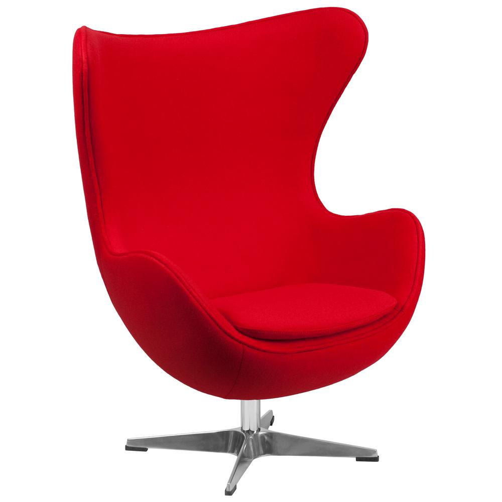 Flash Furniture Red Wool Fabric Egg Chair with TiltLock