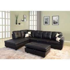 Living Room Black Leather Sectional Divider Sectionals Furniture The Home Depot Left Chaise With Storage Ottoman