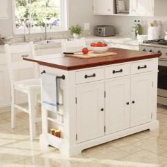 Kitchen Island Large Single Handle Pullout Faucet Inspired By Bassett Country In White Finish With Vintage Oak Top