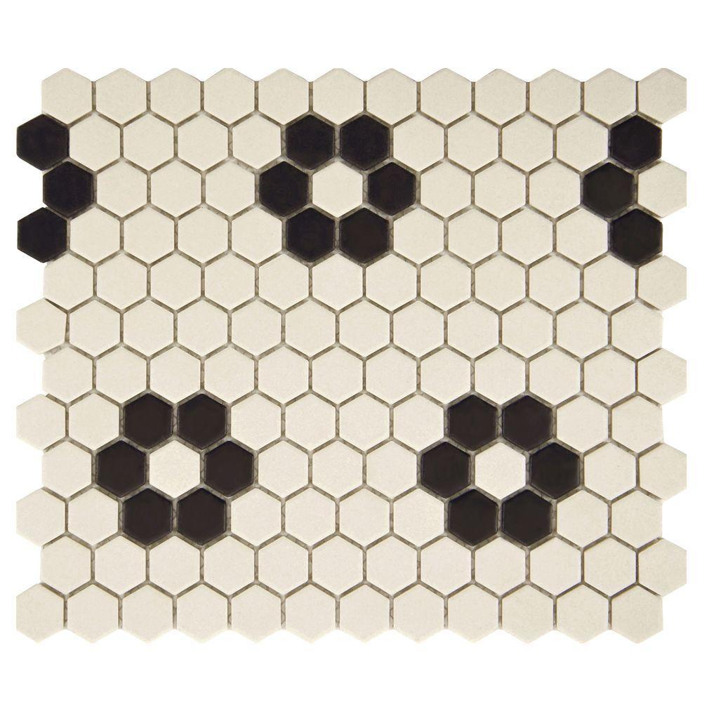 metro greek key matte white and black border 8 in x 10 1 2 in x 5 mm porcelain mosaic tile fxlmmgkb 203784090