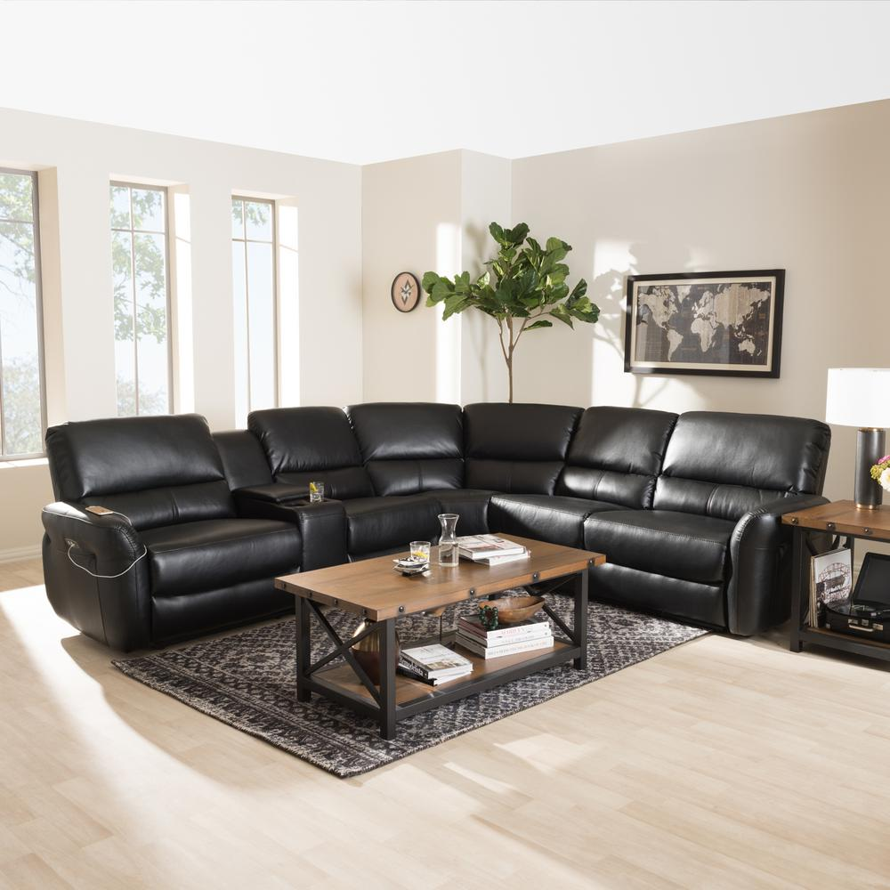 living room black leather sectional furntiure baxton studio amaris 5 piece reclining 28862