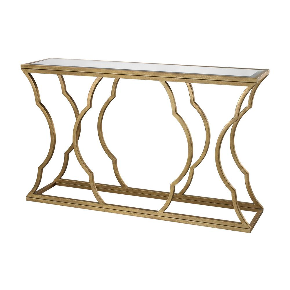 living room console tables mirrored small lighting ideas titan metal cloud antique gold leaf top table