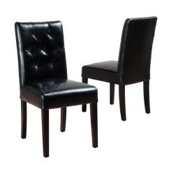 Leather Tufted Dining Chair Bath Baby Noble House Gentry Black Bonded Set Of 2