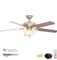 flowe 52 in led brushed nickel ceiling fan with light kit hampton bay  [ 1000 x 1000 Pixel ]