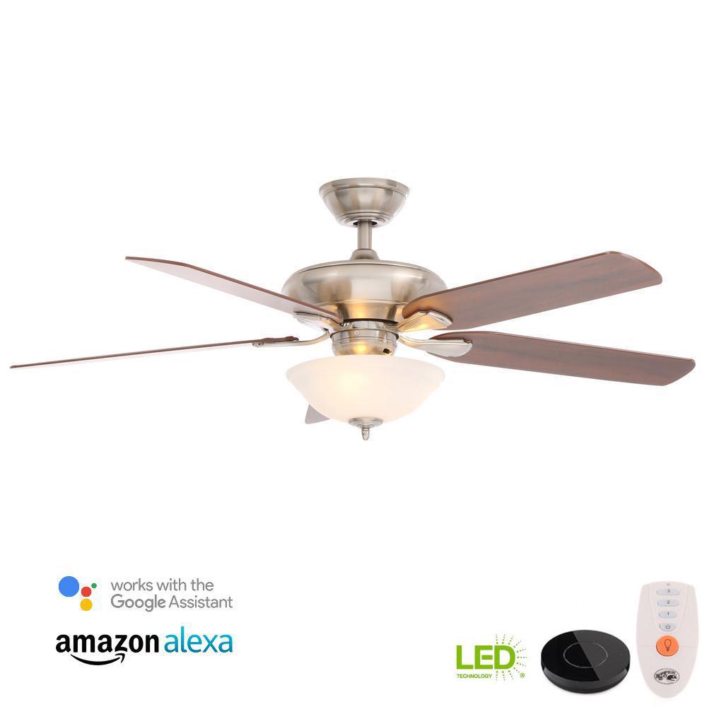 medium resolution of flowe 52 in led brushed nickel ceiling fan with light kit hampton bay