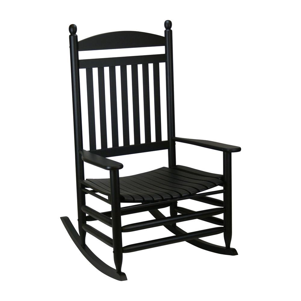 black rocking chairs swivel chair markus patio the home depot bradley jumbo slat wood outdoor
