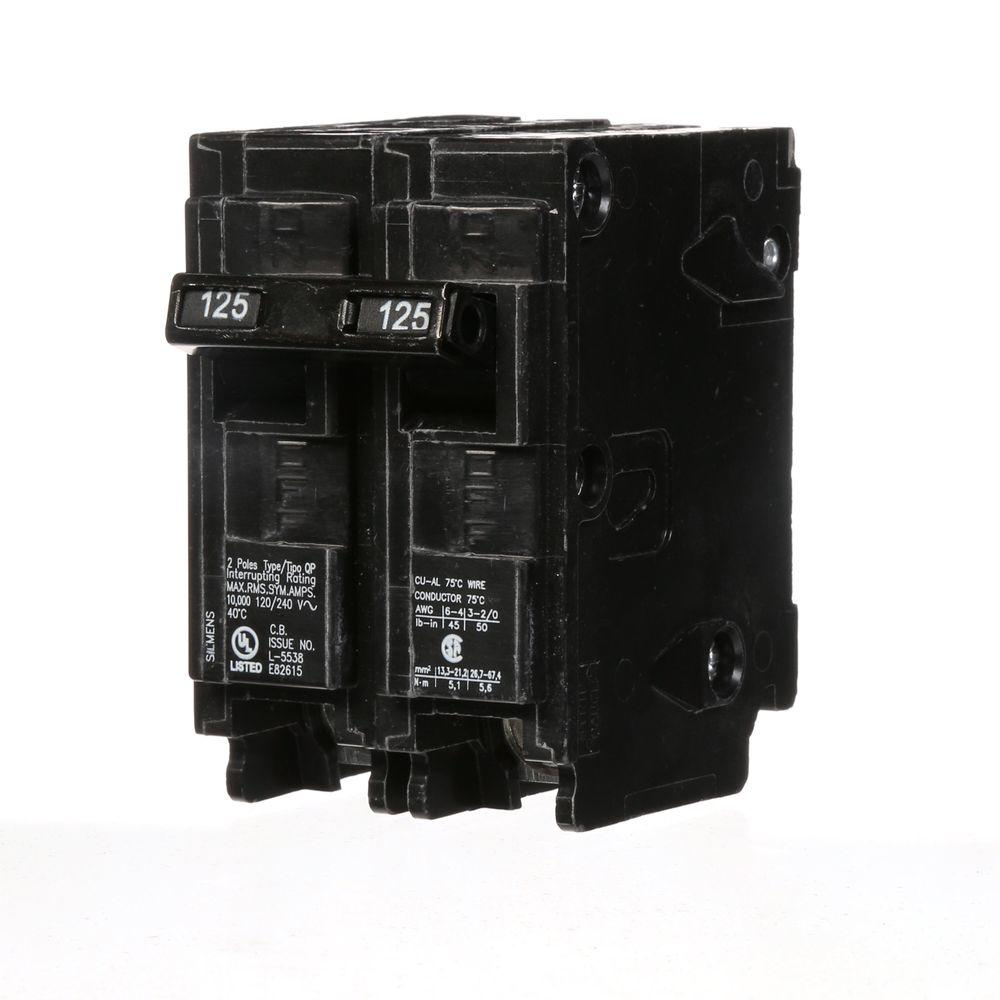 medium resolution of siemens 125 amp double pole type qp circuit breaker