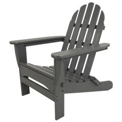 Gray Adirondack Chairs Best Recliner Polywood Classic Slate Grey Plastic Patio Chair Ad5030gy The Home Depot