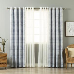 Best Home Fashion 84 In L UMIXm Light Blue Sheer Linen Look And Grid Curtain 4 Pack MMSLINEN