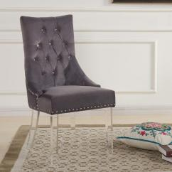 Velvet Tufted Chair Portable Outdoor Chairs Armen Living Gobi 39 In Gray And Acrylic Finish Modern Dining