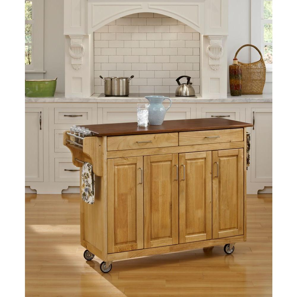 oak kitchen cart drawer organizers home styles create a natural with top 9200 1016g the depot