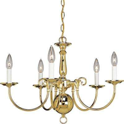 Americana Collection 5 Light Polished Brass Chandelier