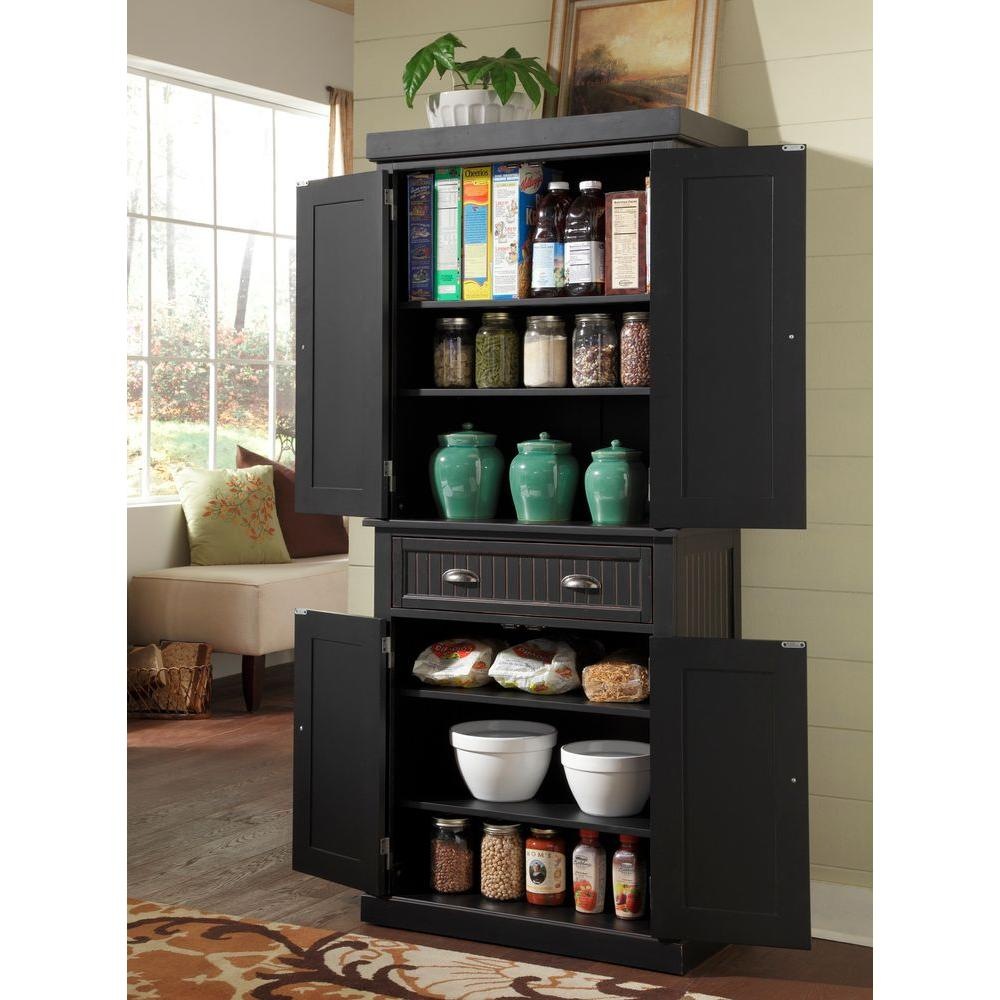 Home Styles Nantucket Distressed Black Food Pantry 5033 69 The