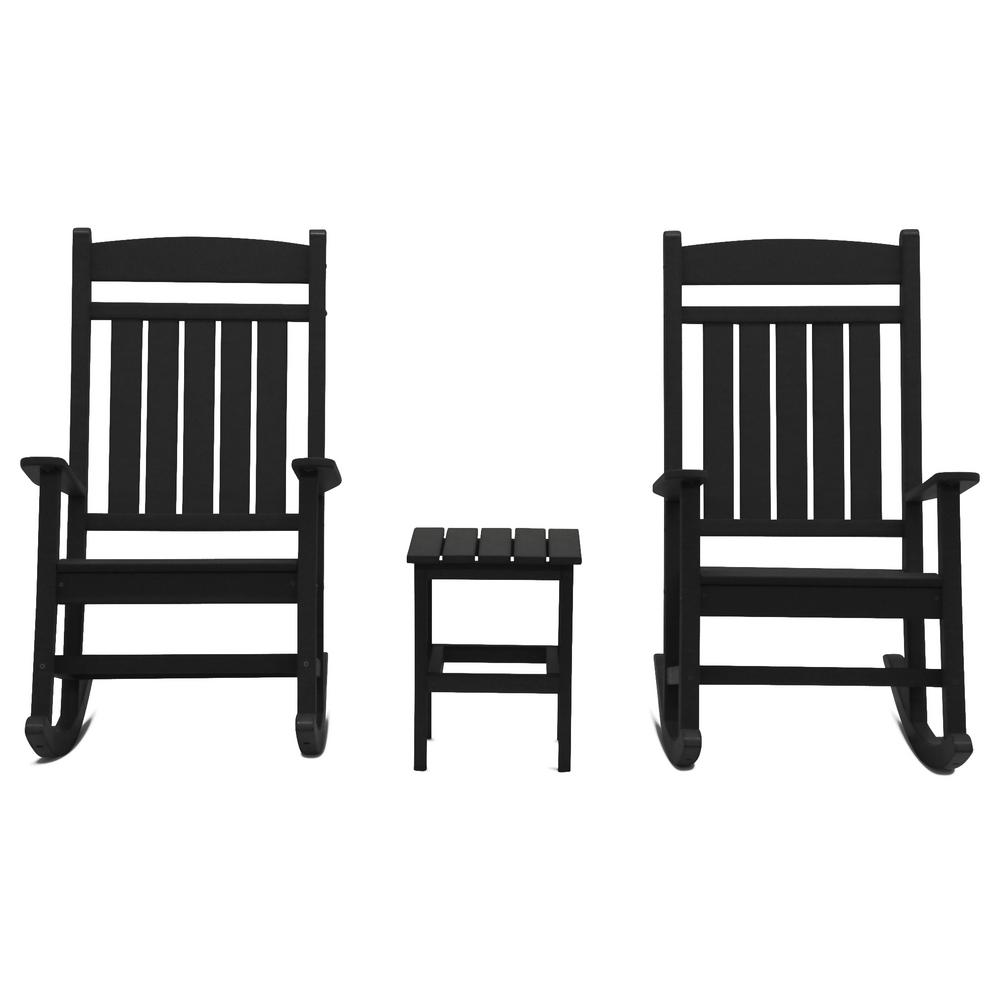 Outdoor Rocking Chair Set Durogreen Classic Rocker Black 3 Piece Plastic Outdoor Chat Set