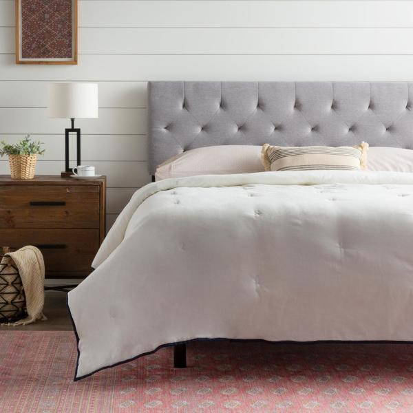 modway emily gray king biscuit tufted