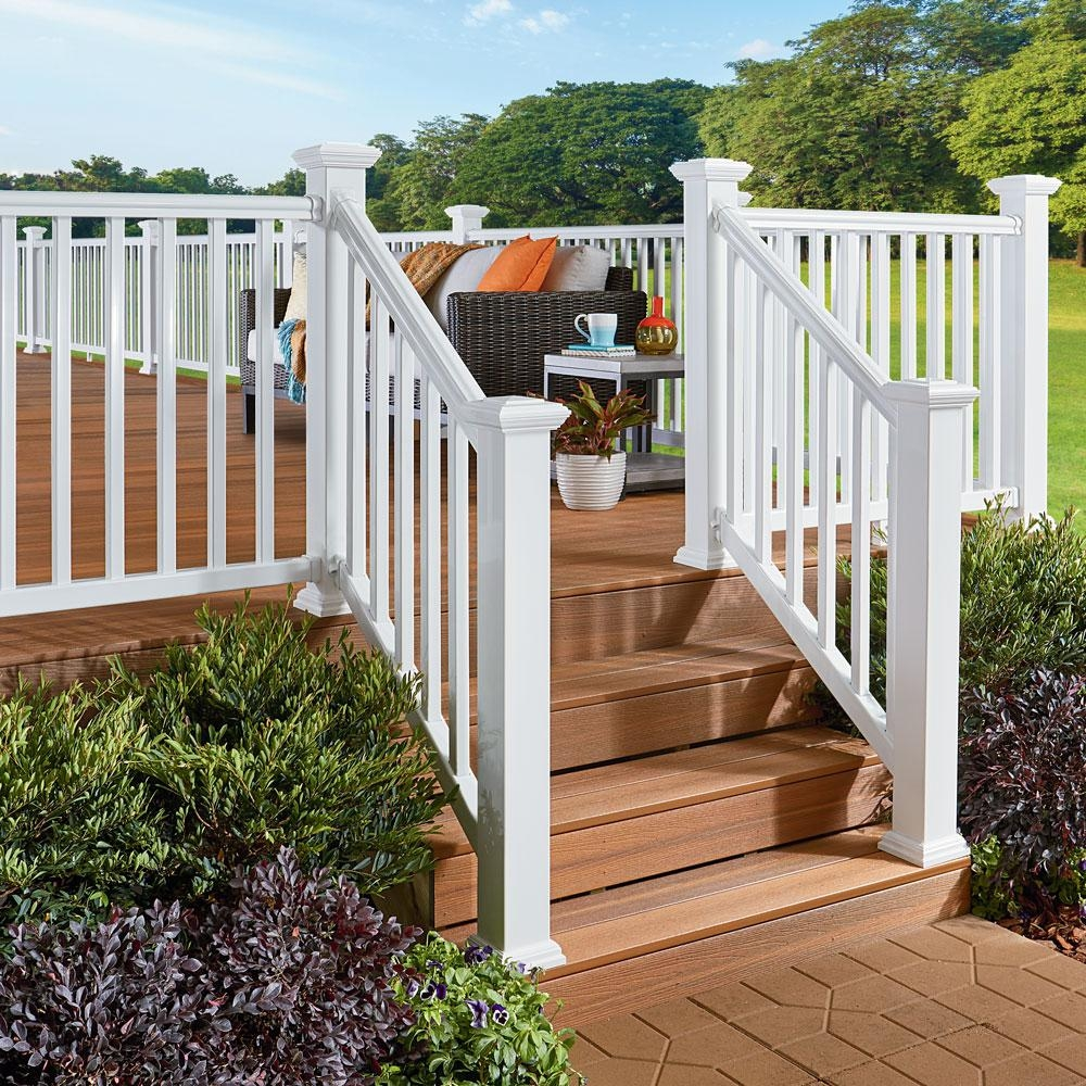 Fiberon Armorguard Deluxe 72 In White Composite Stair Rail Kit | Home Depot Hand Railing Exterior | Composite | Pressure Treated | Wrought Iron Railing | Baluster | Metal