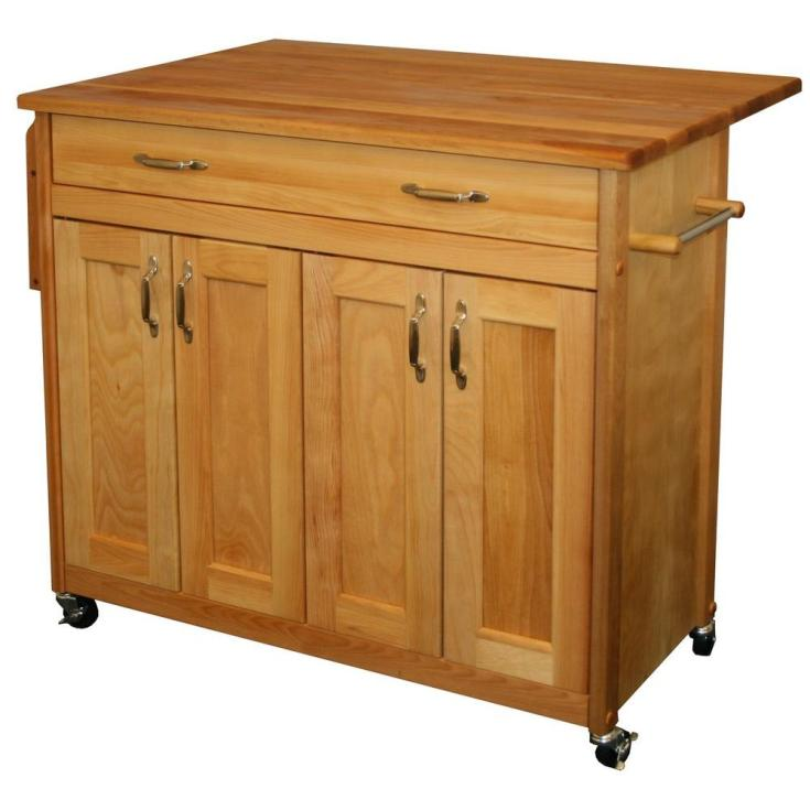 catskill craftsmen natural kitchen cart with drop leaf-51538 - the