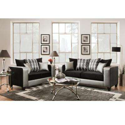 living room furniture sets cheap dark gray sofa ideas the home depot riverstone implosion 2 piece black velvet set