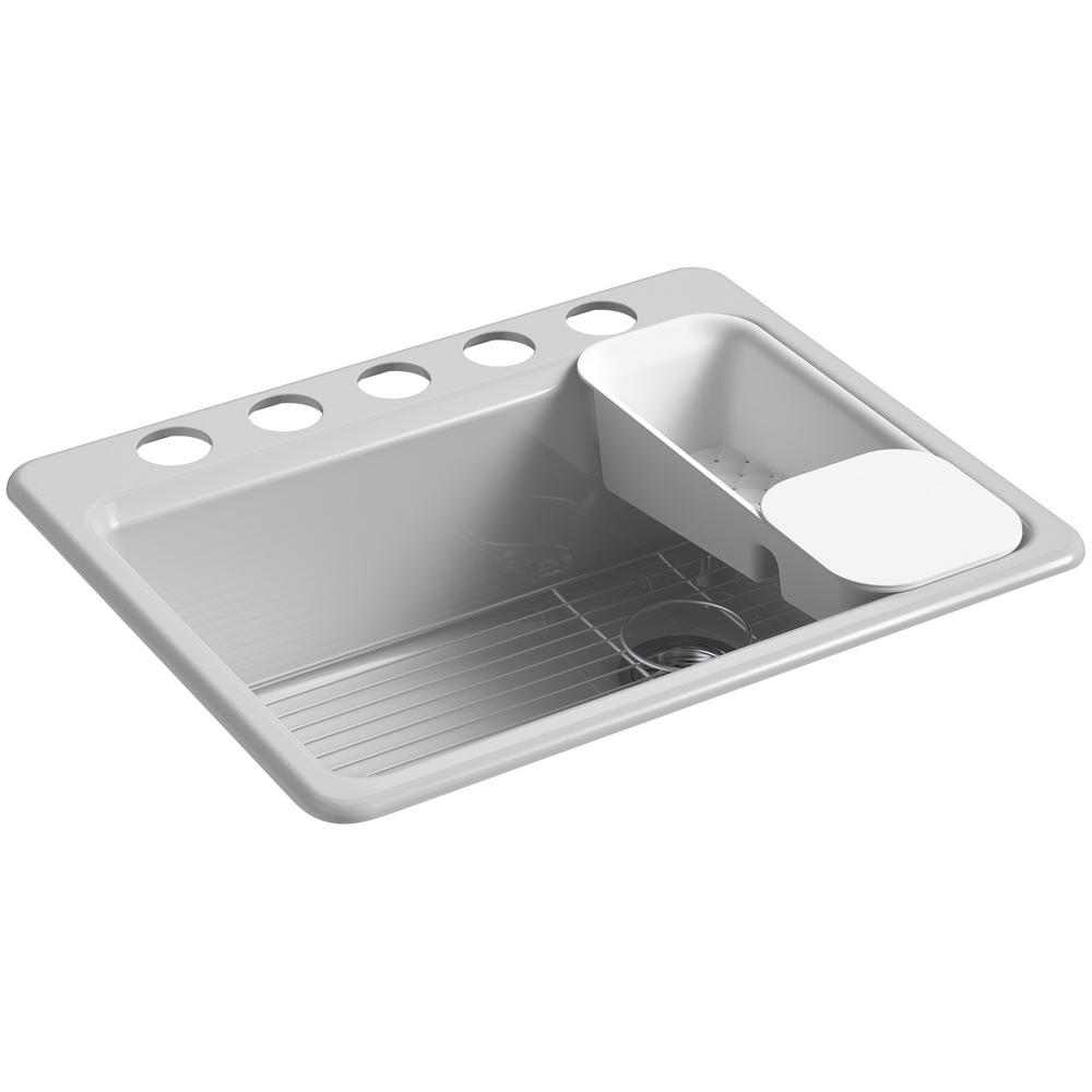 KOHLER Riverby Undermount Cast Iron 27 in 5Hole Single Bowl Kitchen Sink Kit in Ice GreyK