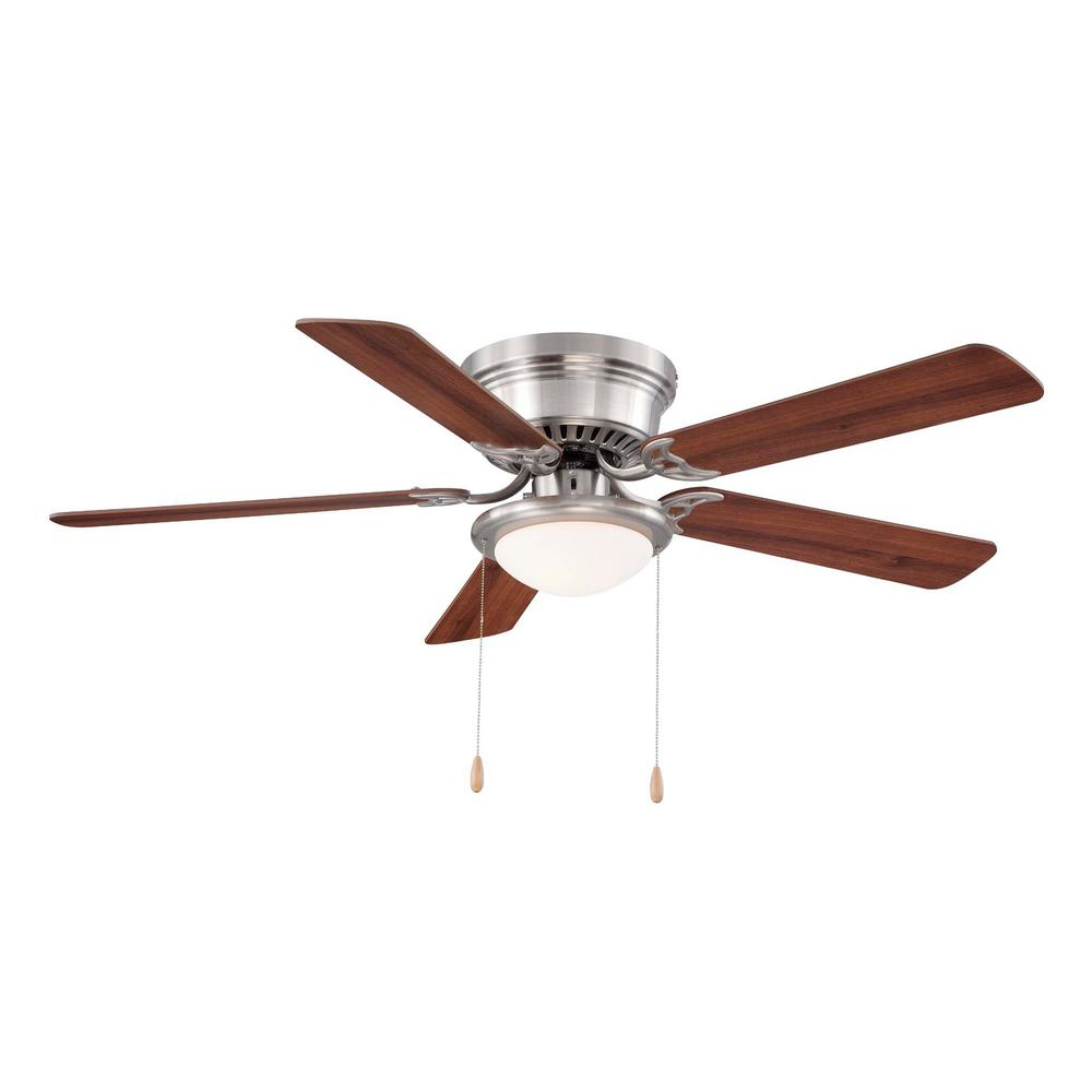 Hugger 52 in. LED Indoor Brushed Nickel Ceiling Fan with