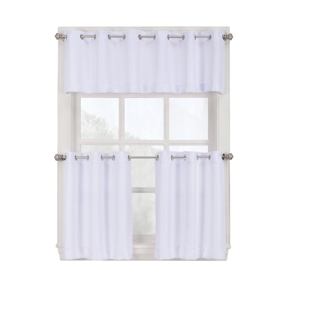 kitchen curtain double sinks for sale lichtenberg semi opaque white montego grommet tiers 56 in w x 24 l 38806 the home depot
