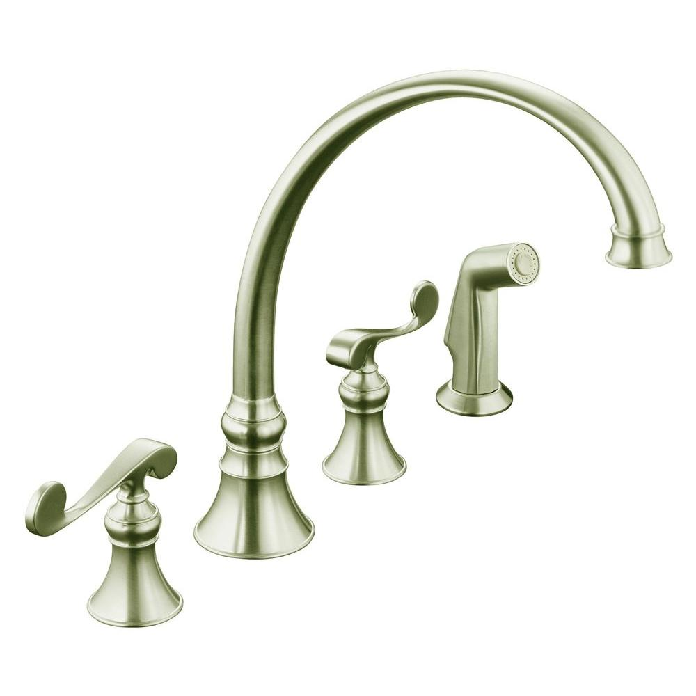 four hole kitchen faucets bronze kohler revival 4 2 handle standard faucet in vibrant brushed nickel