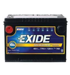 exide extreme 12 volts lead acid 6 cell 78 group size 770 cold cranking amps [ 1000 x 1000 Pixel ]
