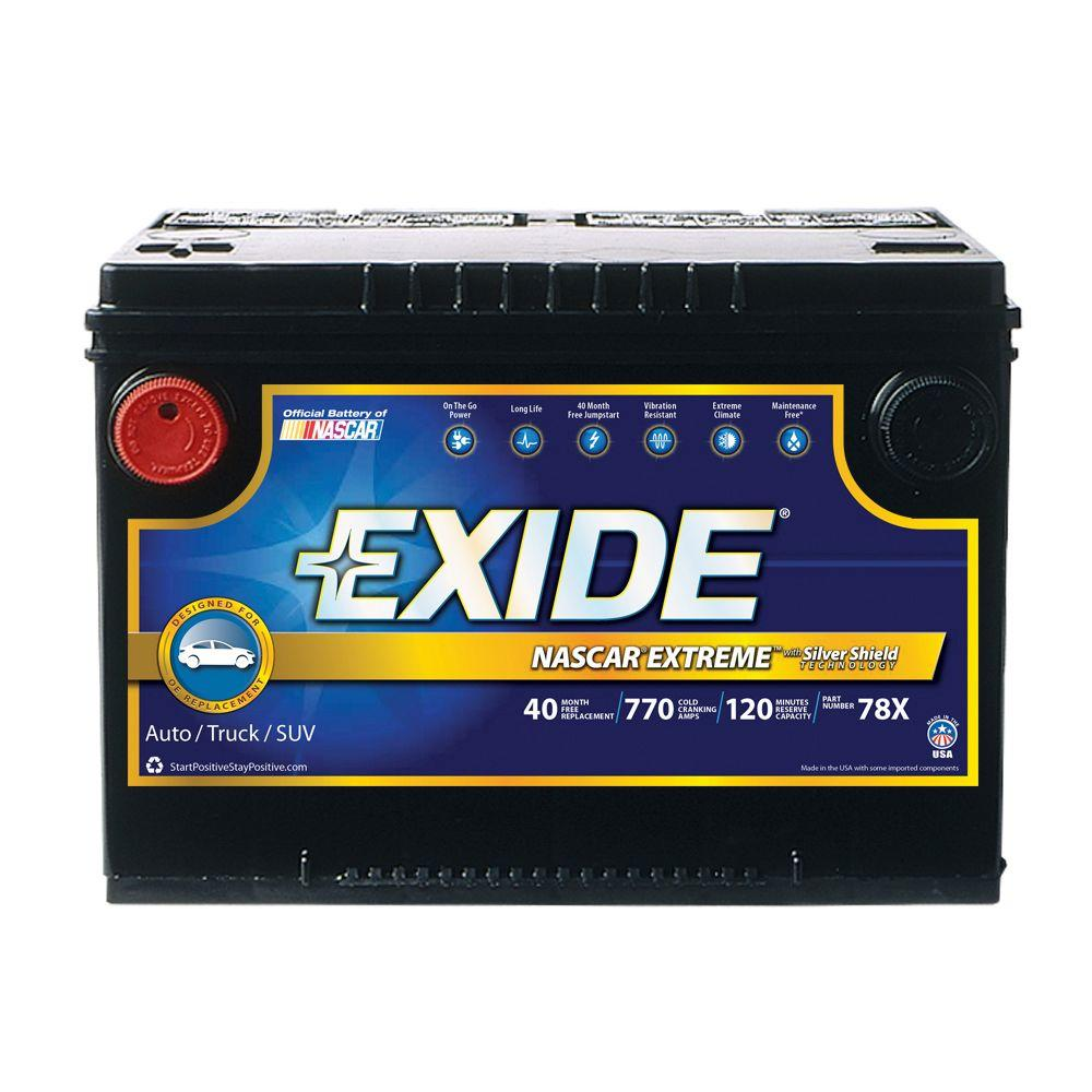 hight resolution of exide extreme 12 volts lead acid 6 cell 78 group size 770 cold cranking amps
