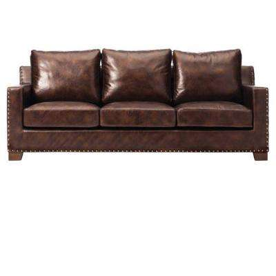 tufted brown leather sofa reclining sectional sets faux sofas loveseats living room garrison