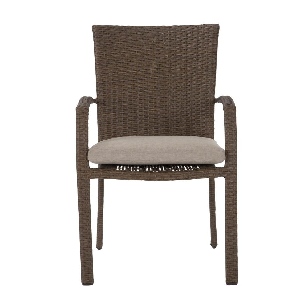 Woven Dining Chair Cosco Lakewood Ranch Brown Steel Woven Wicker Intellifit Outdoor Patio Dining Chairs With Tan Cushions Set Of 6