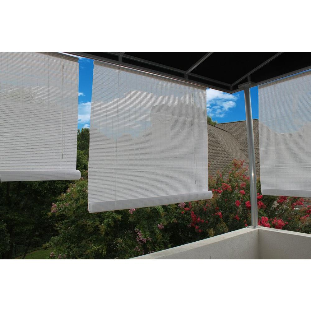 120 in. W x 72 in. L White Exterior Roll Up Patio Sun
