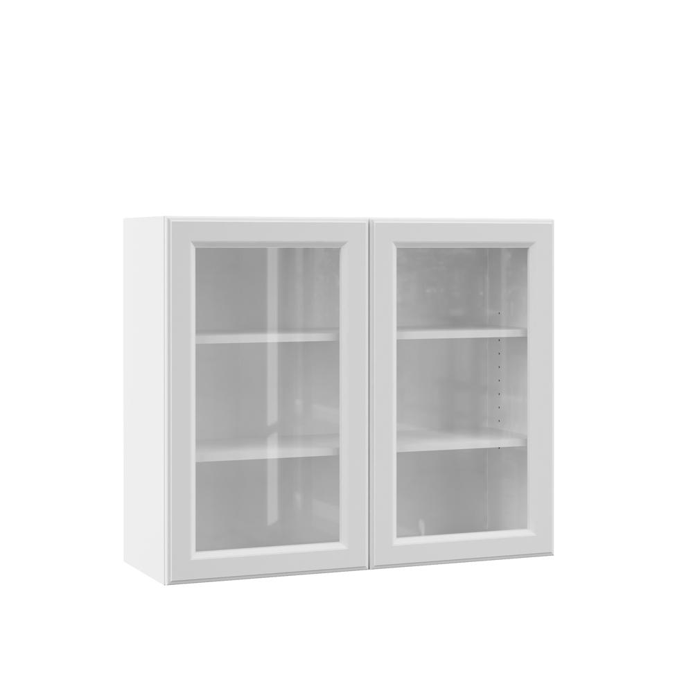 white kitchen cabinets glass doors copper hardware hampton bay designer series elgin assembled 36x30x12 in wall cabinet with