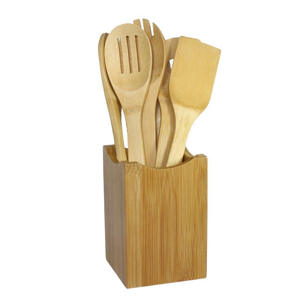 kitchen tool holder unclog sink drain oceanstar bamboo cooking utensil set 7 piece kt1279 the home depot