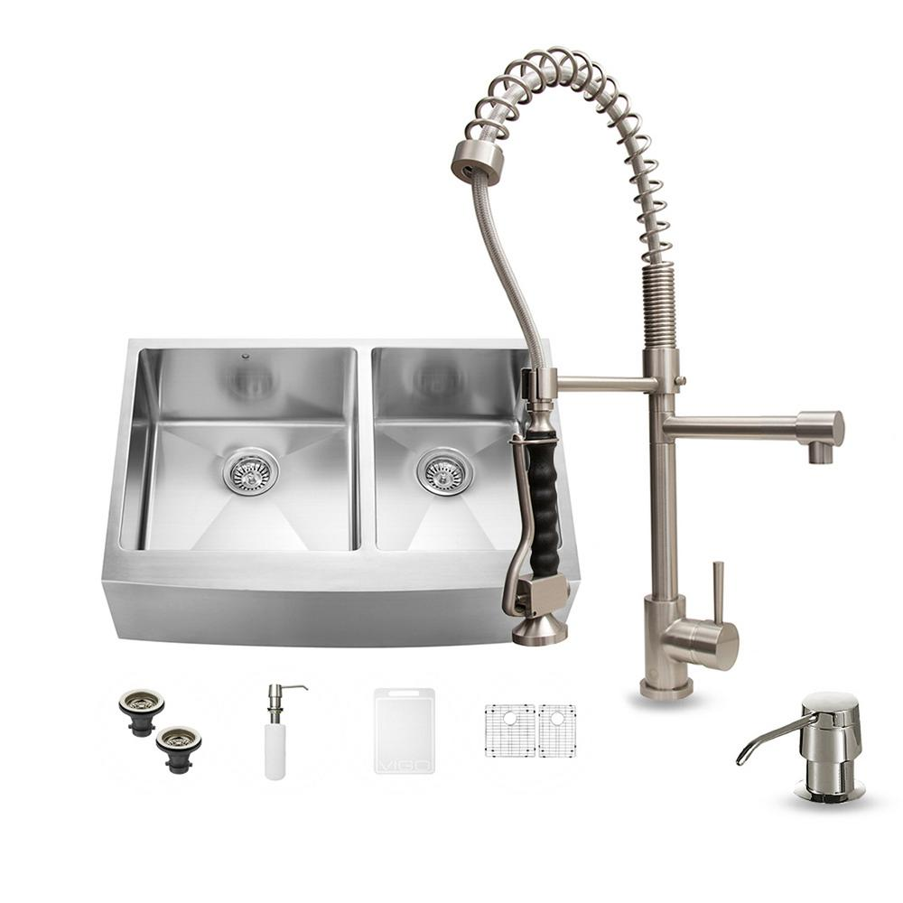 VIGO All In One Farmhouse Apron Front Stainless Steel 33