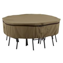Large Chair Covers Folding Width Classic Accessories Hickory Round Patio Table And Set Cover 55 215 042401 Ec The Home Depot