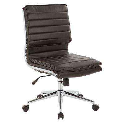 armless chair office folding end caps pro line ii chairs home furniture the depot espresso