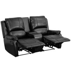 Theater Chairs With Cup Holders Dallas Cowboys Chair Flash Furniture Allure Series 2 Seat Reclining Pillow Back Black Leather Seating Unit Bt702952bk The Home Depot
