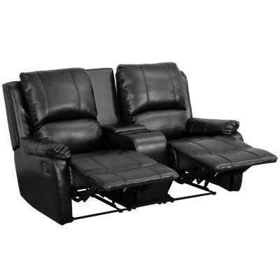 2 seat theater chairs floor chair canada seating media the home depot allure series reclining pillow back black leather unit with cup holders