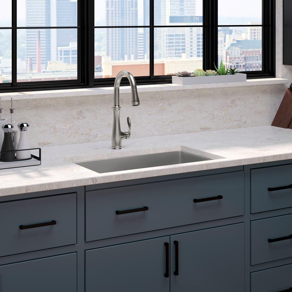stainless kitchen sinks desk ideas kohler strive all in one undermount steel 29 single bowl sink with bellera faucet