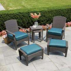 Turquoise Patio Chairs Chair And Stool Legs Hampton Bay Placerville Furniture Outdoors The Home Depot Brown 6 Piece Wicker Conversation Set With Cushion