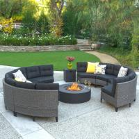 Noble House 10-Piece Wicker Patio Fire Pit Sectional ...