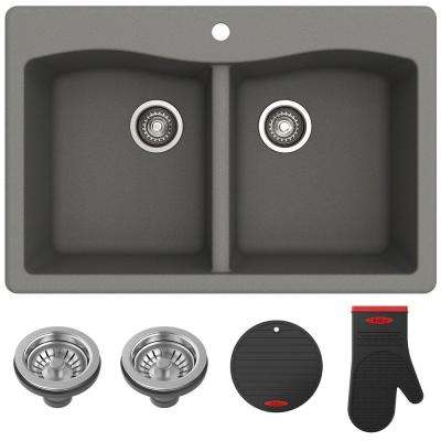 colored kitchen sinks double bowl sink granite quartz composite gray the home forteza all in one drop undermount 33