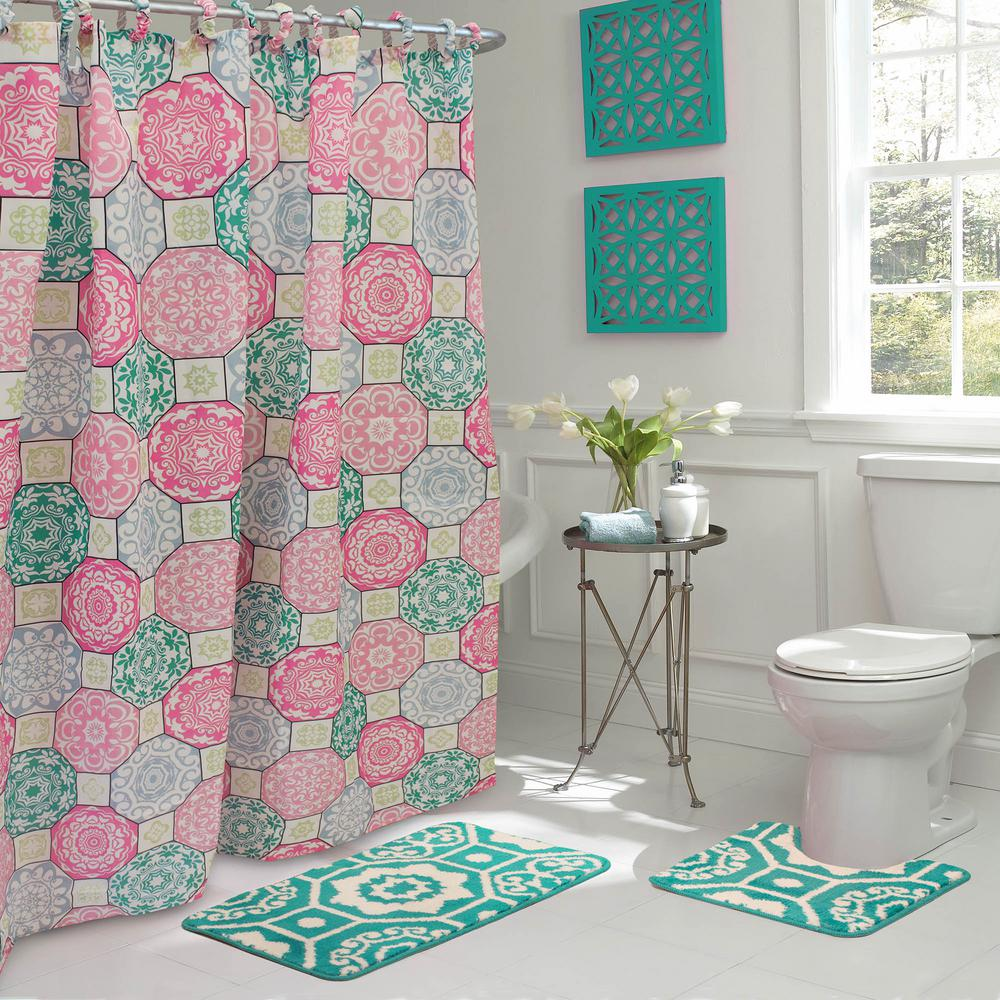 Bathroom Shower Curtain Addison 30 In L X 18 In W 15 Piece Bath Rug And Shower Curtain Set In Pink And Blue