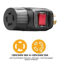 fit 30 amp 240 volt to 20 outlet adapter pf923022 [ 1000 x 1000 Pixel ]