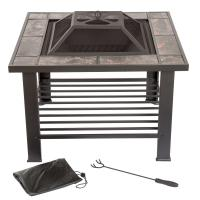 Pure Garden 30 in. Square Steel Fire Pit and Table with ...