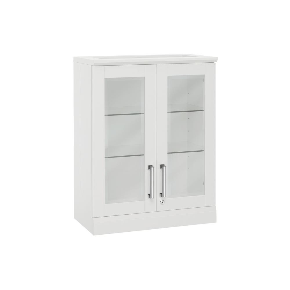 NewAge Products Home Bar White Short Wall Display Cabinet