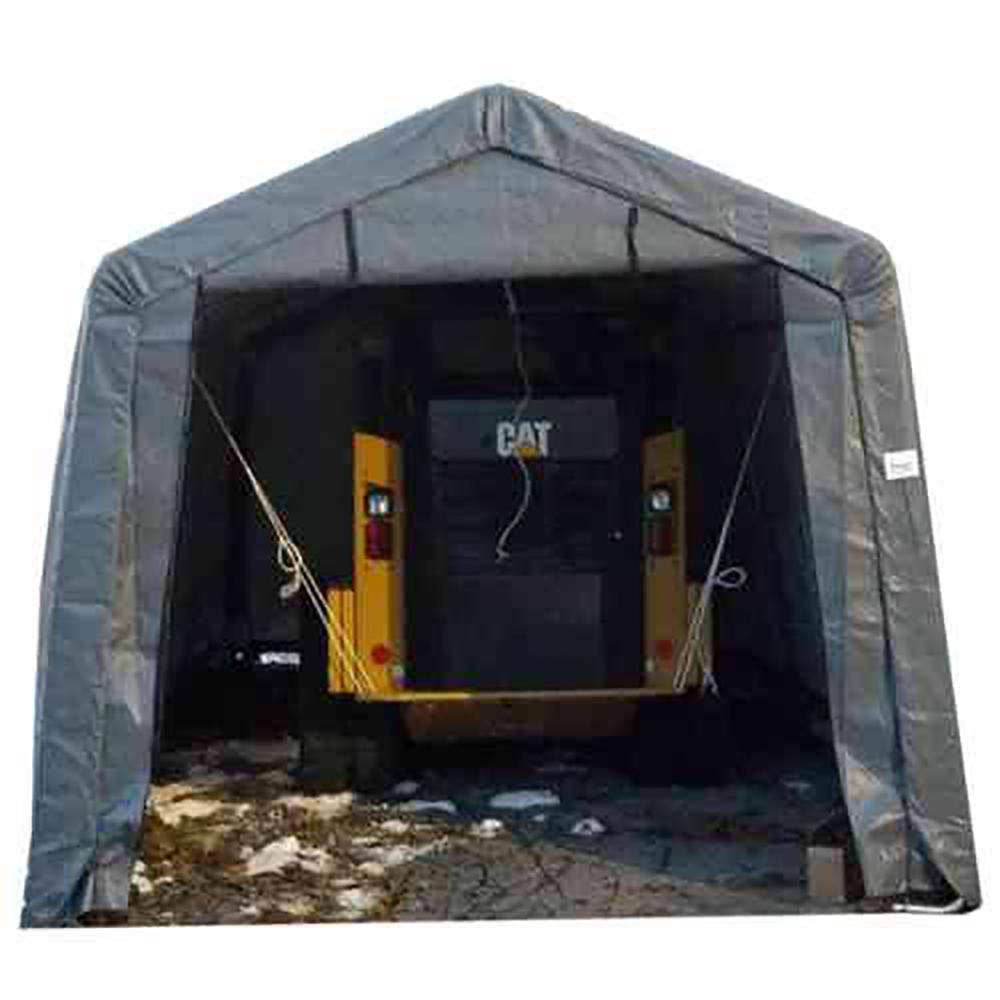 ShelterIT 12 ft W x 28 ft D x 8 ft H Steel Frame Polyethylene Instant GarageShed without