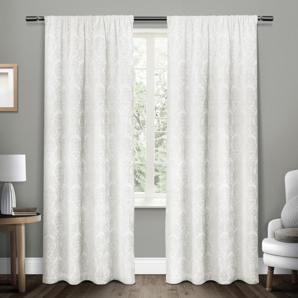 Damask Winter White Chenille Heavyweight Jacquard Medallion Rod Pocket Top Window CurtainEH8099