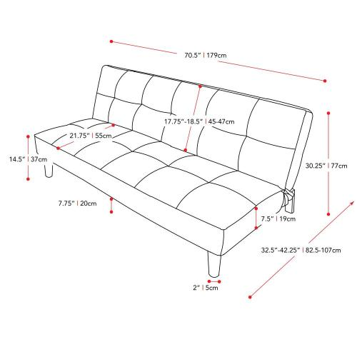 small resolution of corliving yorkton dark grey convertible futon sofa bed with textured futon frame diagram of a futon beds
