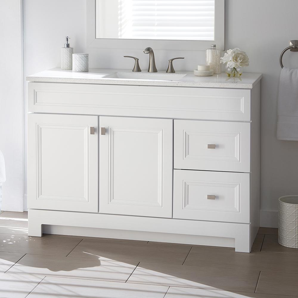 Vanities Bathroom Home Decorators Collection Sedgewood 48 1 2 In W Bath Vanity In White With Solid Surface Technology Vanity Top In Arctic With White Sink